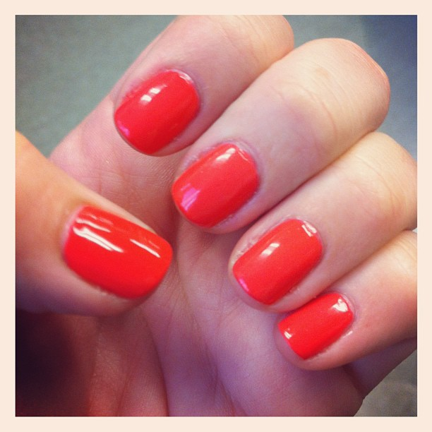 My Bright Coral Nails Make Me Happy | Adorably Caffeinated