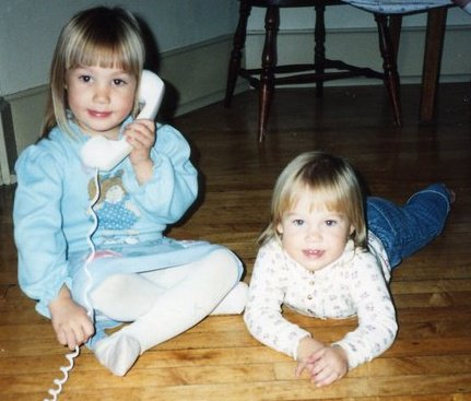 Aren't we adorable? I'm on the left, Emma's on the right. Apparently we're having a very important conversation with a relative. I'm assuming. Who else do you know when you're 4?